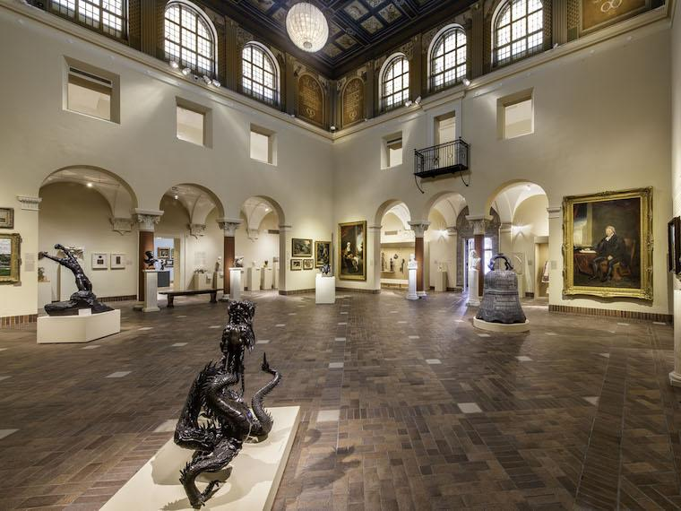 Interior of Allen Art Museum with focus on sculpture court and Coilng Dragon