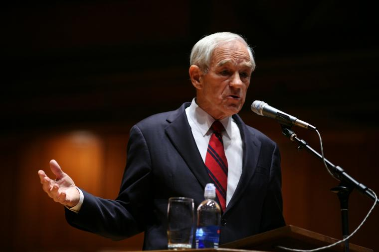 Ron Paul at the lectern