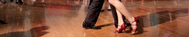 view of feet of two people dancing