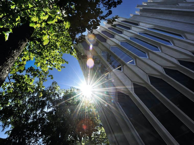 sun shining over Bibbins Hall