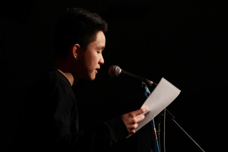 Spoken word artist Troy Osaki performs at the Cat in the Cream