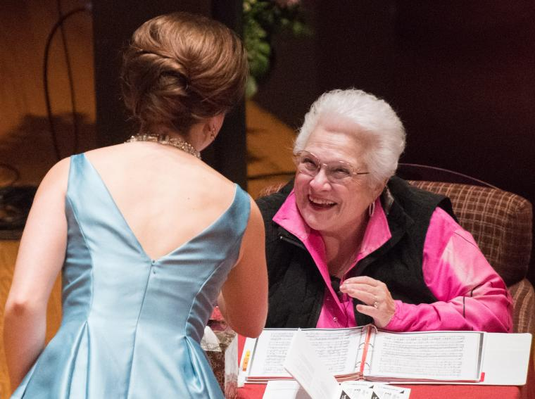 photo of Marilyn Horne with student Olivia Boen