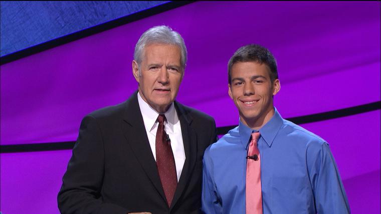 Alex Trebek and Sam Bernhard on the set of Jeopardy.