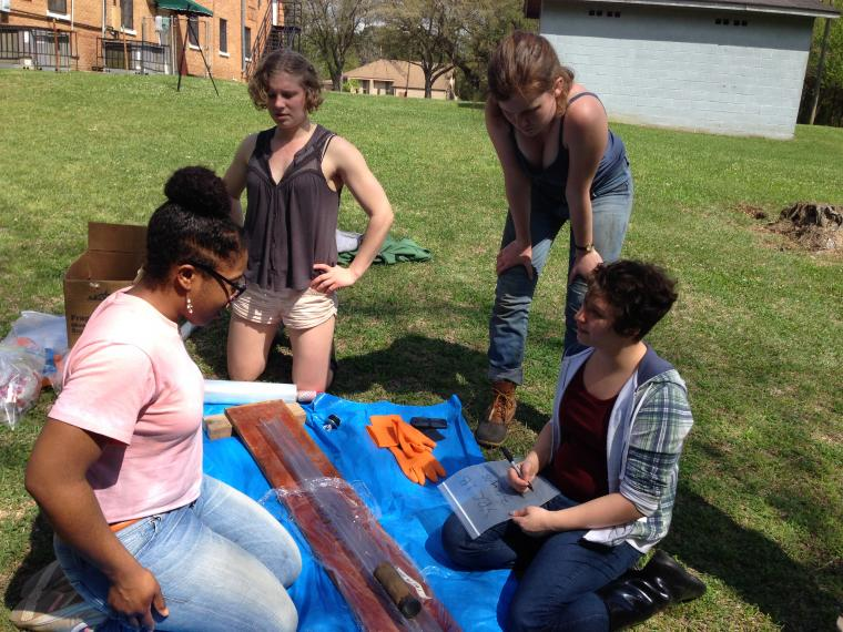 Students working on soil samples