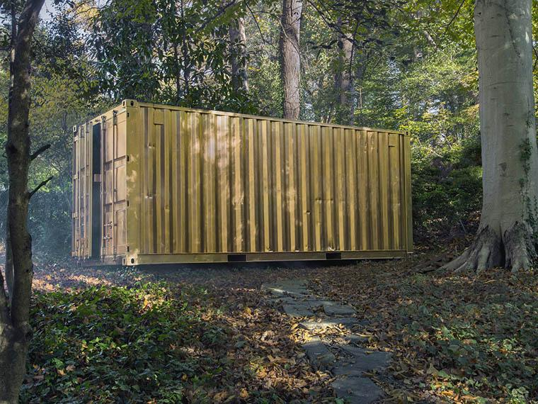 shipping container painted gold