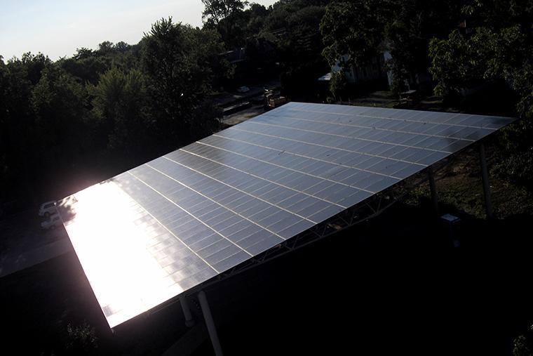 Solar panel reflecting sunlight