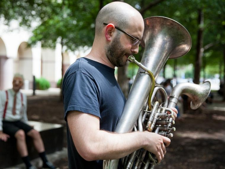 brass player performing outside