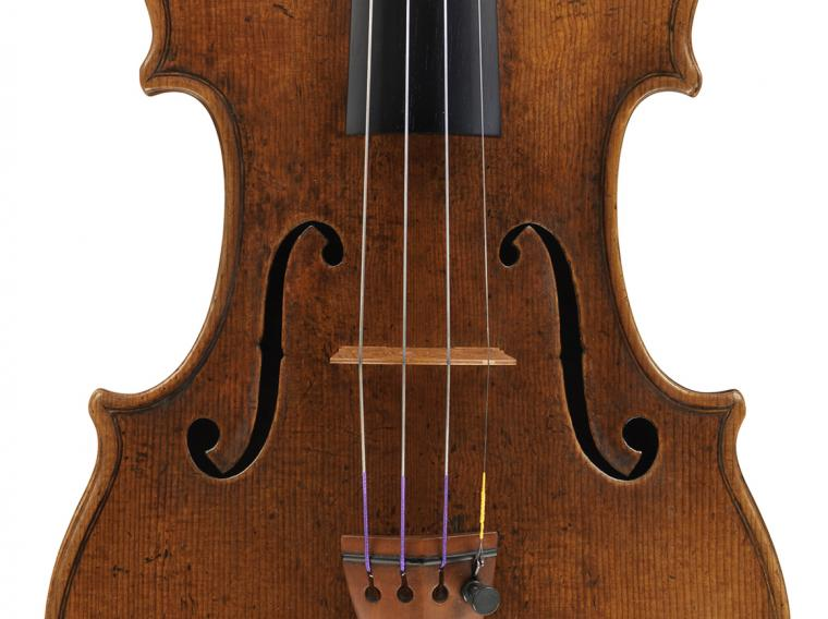close-up view of a violin
