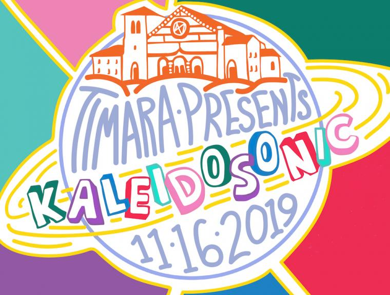 TIMARA presents Kaleidosonic, November 16, 2019. Illustration of Finney Chapel atop a globe.