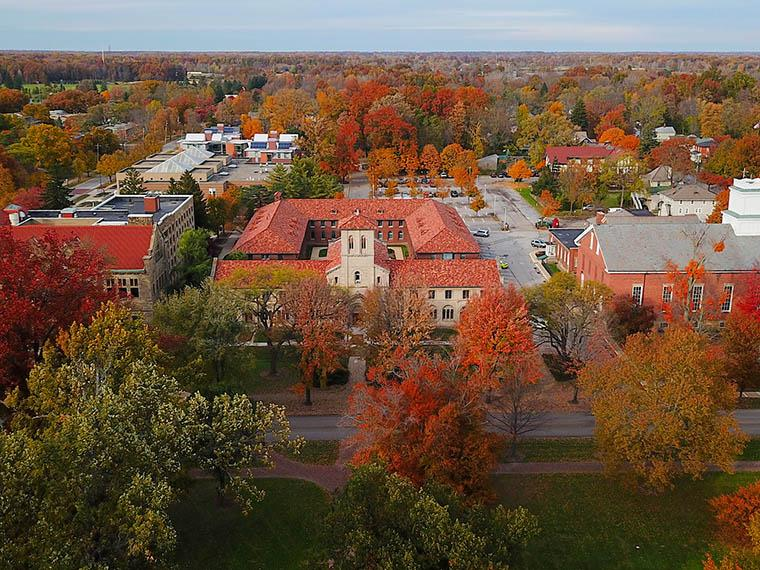 aerial view of Oberlin College campus buildings in autumn
