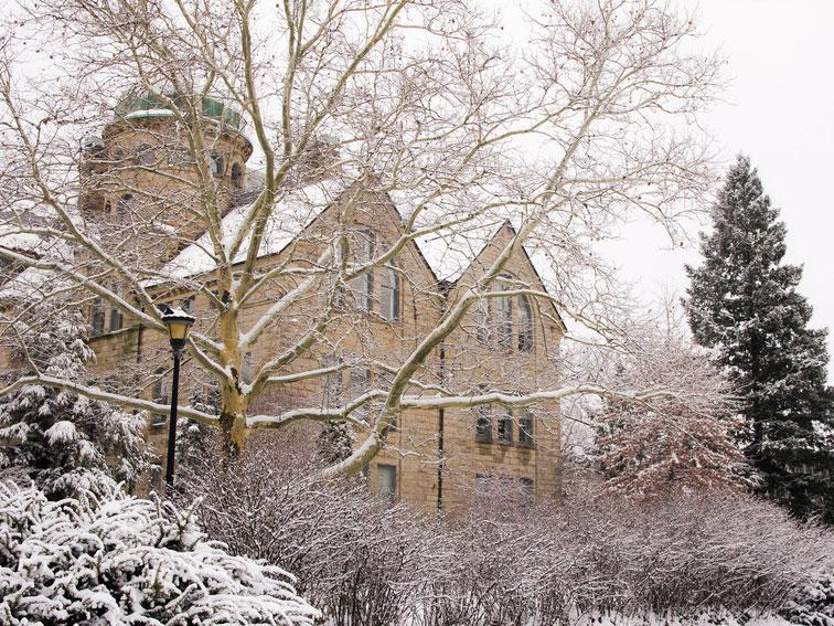 Peters Hall on a snowy day