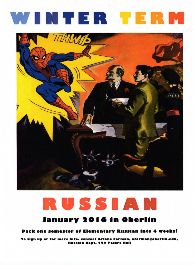 Comics panel showing Spiderman jumping into the bad guys' lair where Lenin and other revolutionaries are making plans.. Title: Winter Term Russian, January 2016 in Oberlin.
