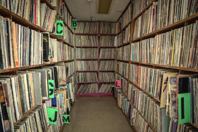 Shelves crammed with LP records
