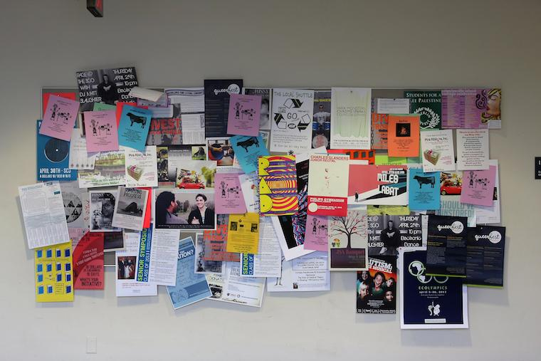A poster board in King Hall.