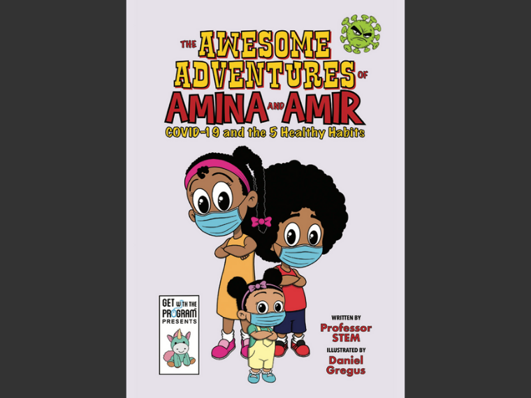 book cover art with three children wearing face masks.