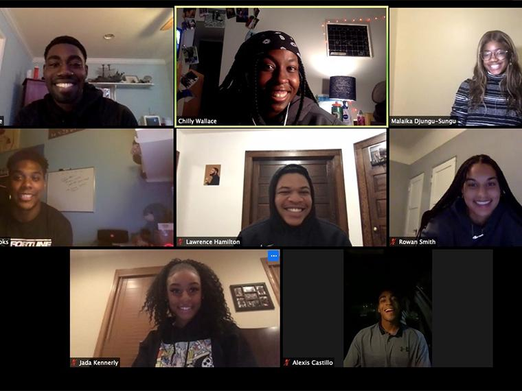 Zoom screen shot of members of the Black Student Athlete Group.