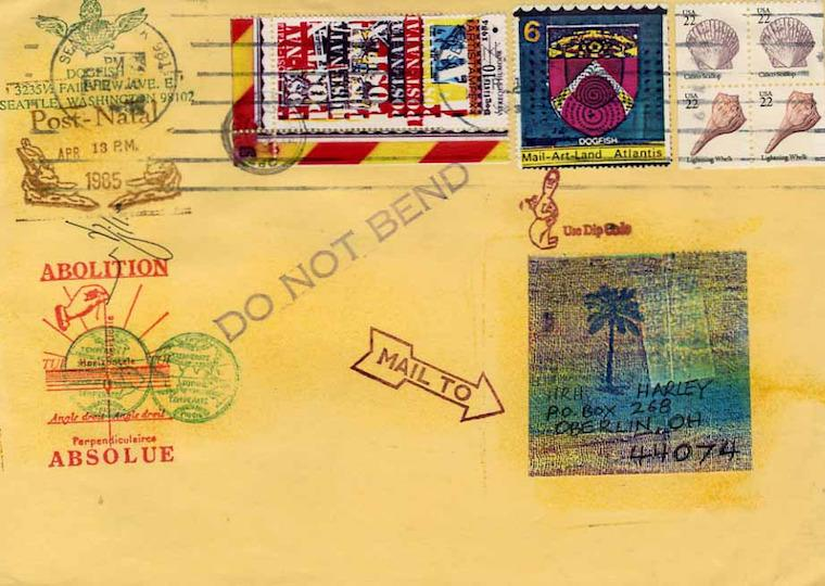 An envelope with ink stamps.