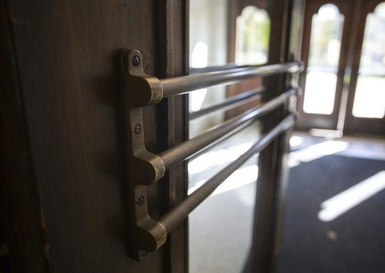 An open glass door.