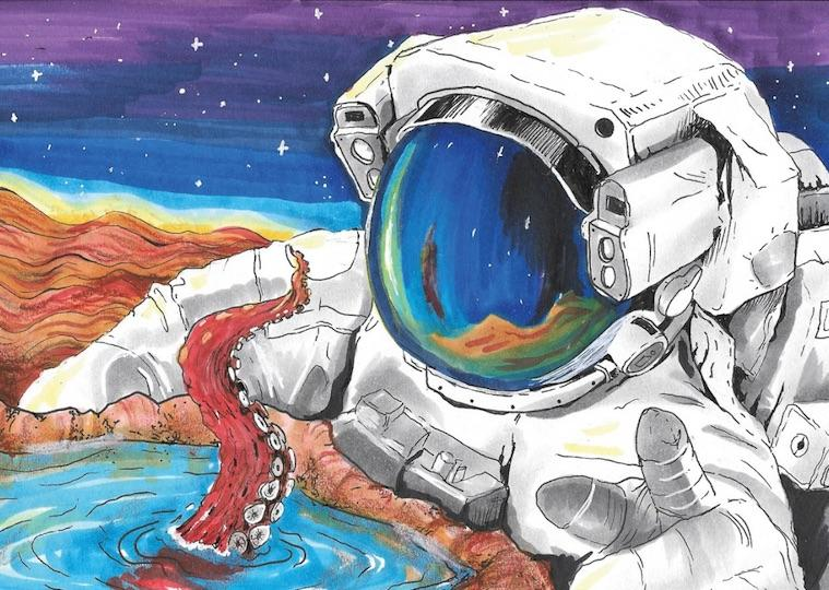 A drawing of a man in a space suite looking into a moon crater with a tentacle sticking out.