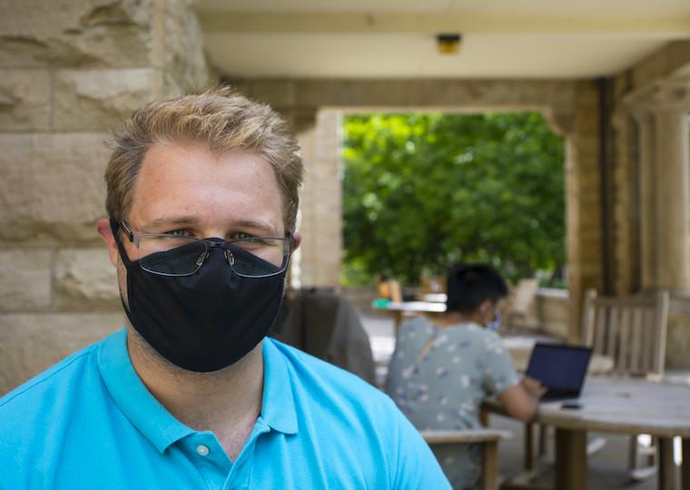 A portrait of a student wearing a mask.