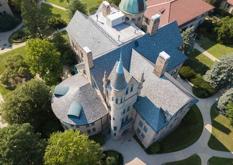 An aerial picture of Peters Hall.