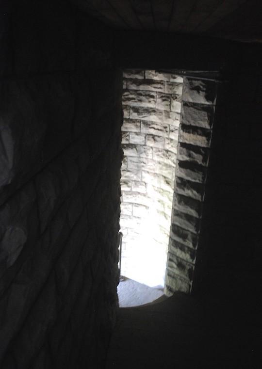 A long window in a dark room.