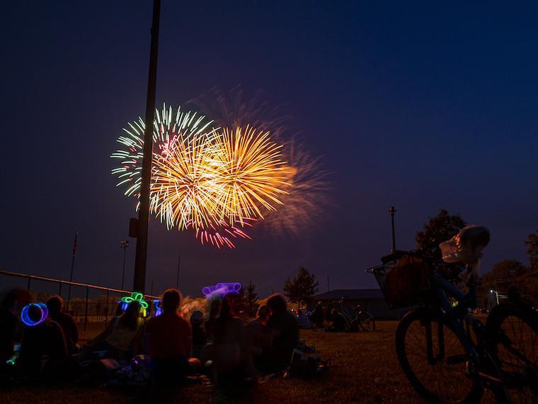 Fireworks in the night sky.