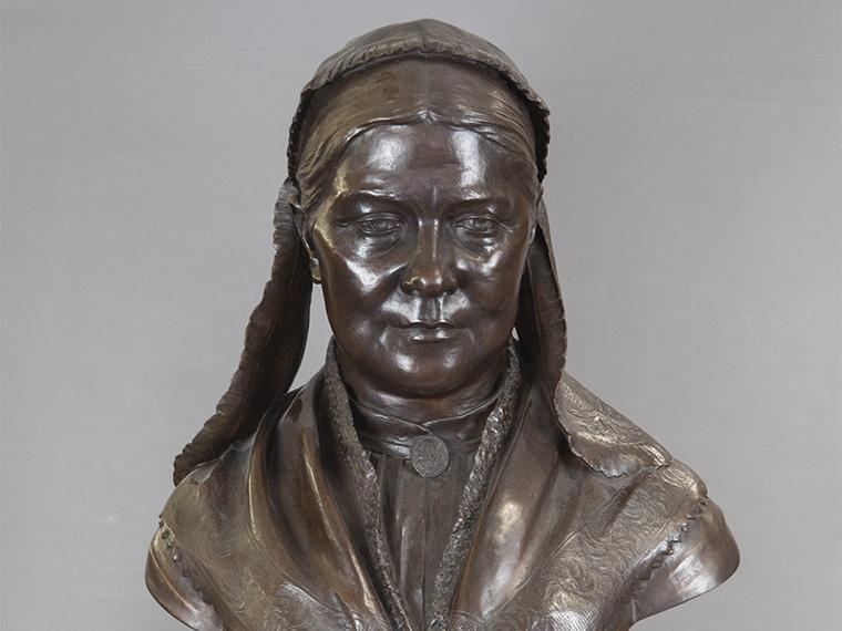 A bronze bust of Lucy Stone.