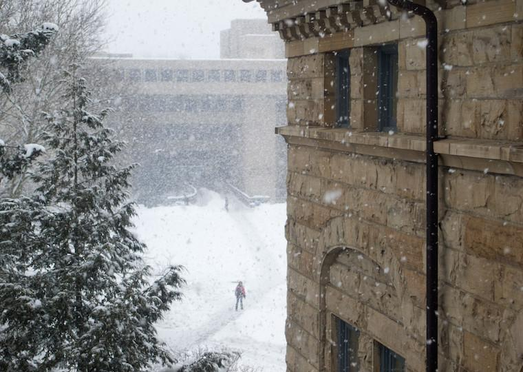 A snowy view of trees, a building, and person standing on a pathway.