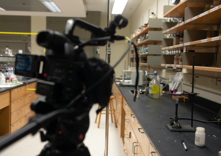 A camera is pointed at a lab experiment.