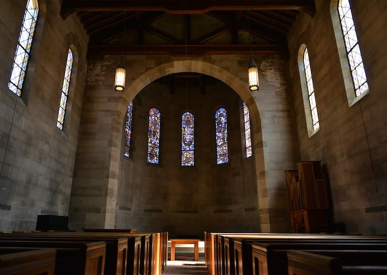 Inside a stone chapel