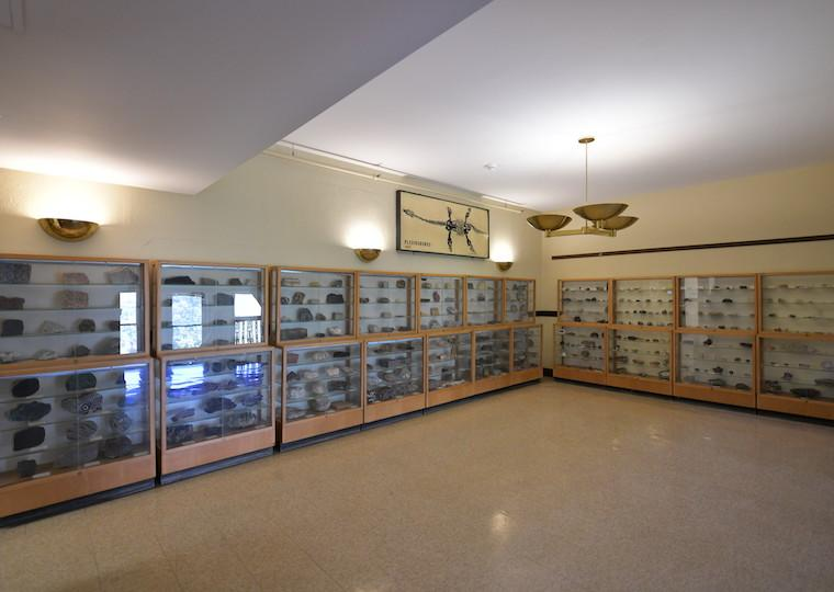Display cases in a geology department