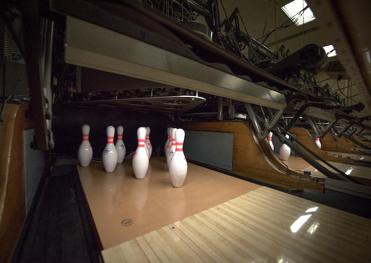 Pins on a bowling alley.