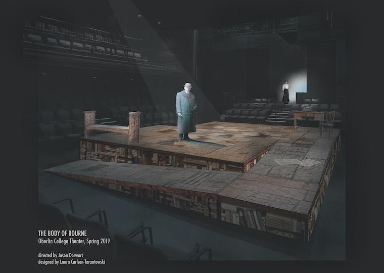 An illustration of a man standing on a stage.