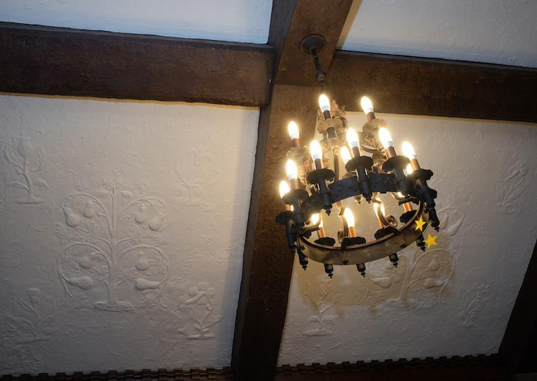 A wooden chandelier