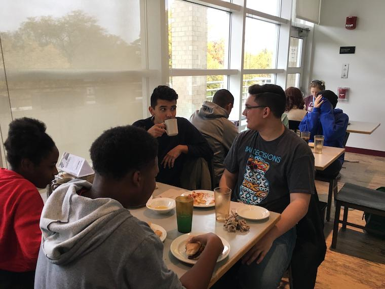 Students having lunch together.