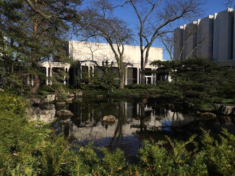 The conservatory pond on a sunny day.