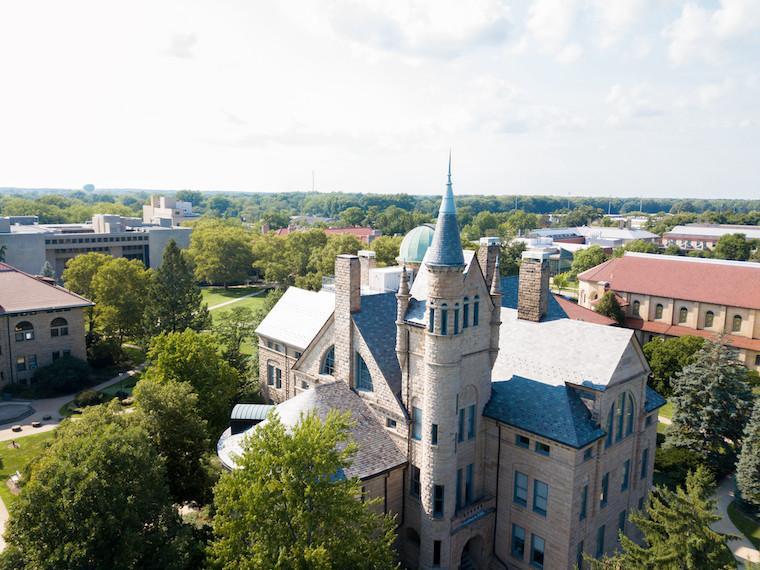 Aerial view of Peters Hall.