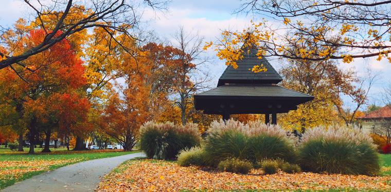 The bandstand in Tappan Square on a beautiful fall day.