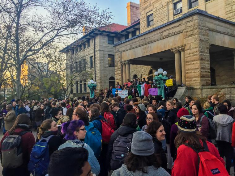 A group of students standing outside of Wilder Hall.