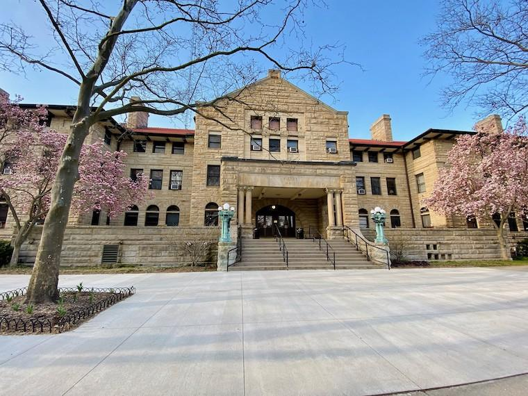 Exterior view of Wilder Hall in spring.