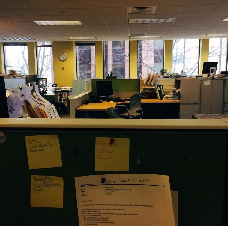 Photo of an office with cubicles