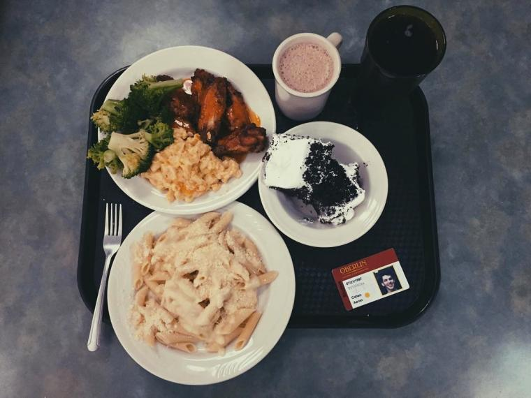 A meal on a dining tray