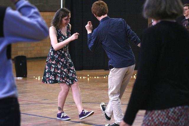 A man and woman dancing.