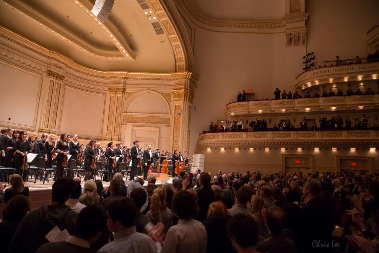 Oberlin Orchestra play at Carnegie Hall and receive a standing ovation.