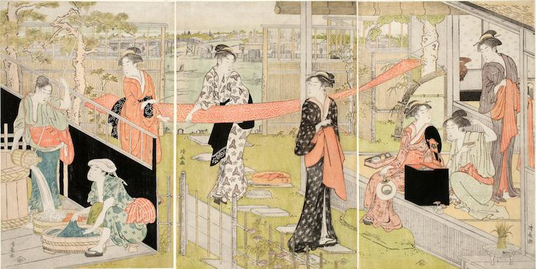 Japanese color woodblock print, women washing and drying cloth