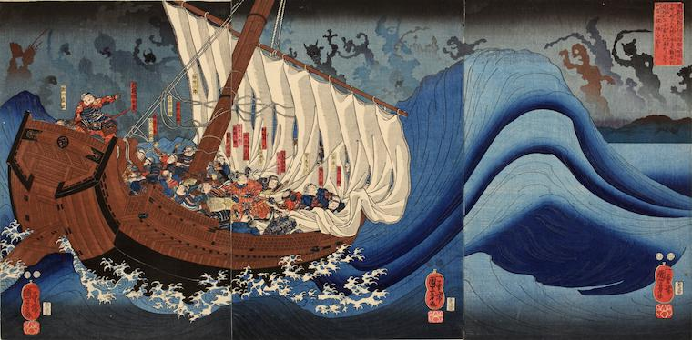 Japanese woodblock print, warriors on a sailboat