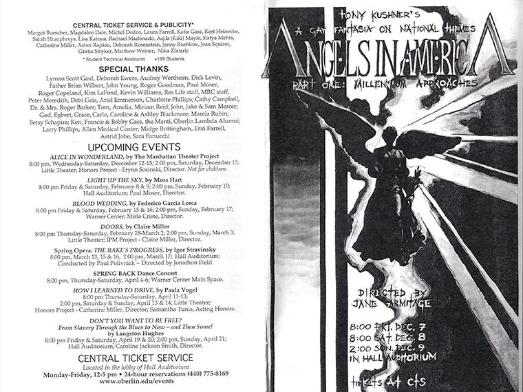 Front and back covers of the program for Angels in America Part One: Millennium Approaches, by Tony Kushner, Directed by Jane Armitage, Dec 7-9, 2001