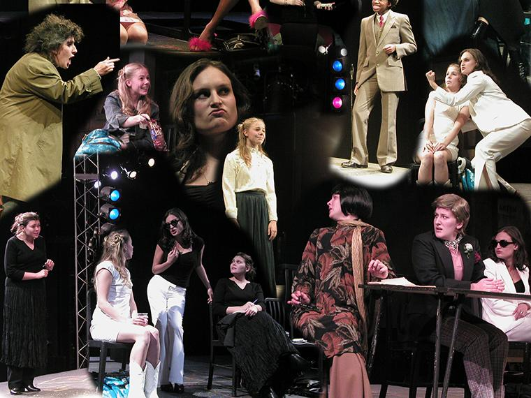Collage of production photos of Anton in Show Business, by Jane Martin, Directed by Paul Moser, Oct 10-12, 2004