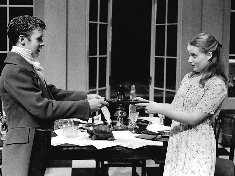 Stefan Grube as Gus Coverly, Abigail Scott as Hannah Jarvis in Arcadia, written by Tom Stoppard, Directed by Jane S. Armitage, Sep 26-28, 1997